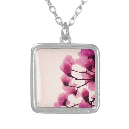 Purple Blossoms Silver Plated Necklace