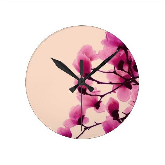 Purple Blossoms Wall Clocks