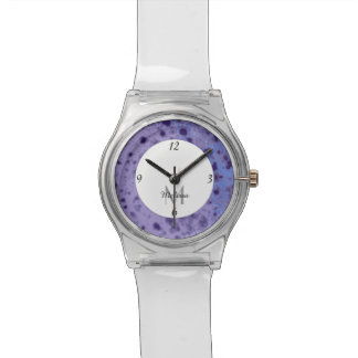 Purple blue abstract distressed pattern Monogram Watch