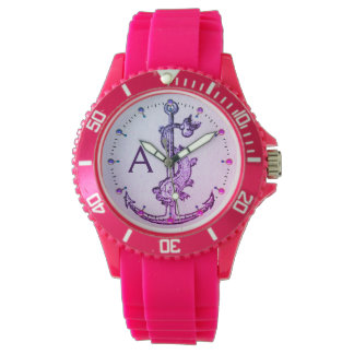 PURPLE BLUE ANCHOR WITH FISH NAUTICAL MONOGRAM WRISTWATCHES