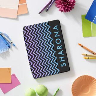 Purple blue and black glitter chevron pattern iPad air cover