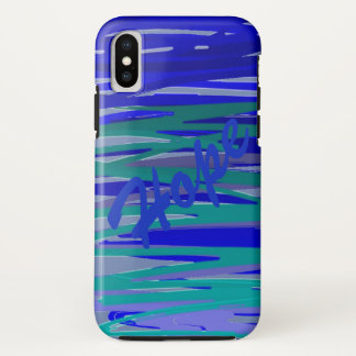 Purple Blue and Green Art Scribble Personalized iPhone X Case