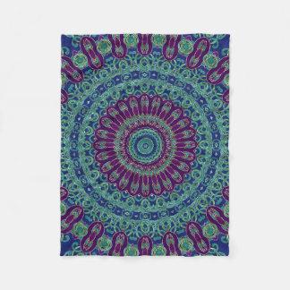 Purple, Blue and Green Mandala Fleece Blanket