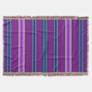 Purple Blue and Lilac Stripe Throw Blanket