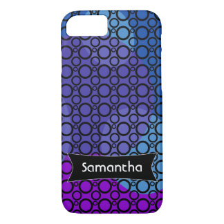 Purple, Blue and Pink Curves Under Black Circles 2 iPhone 7 Case
