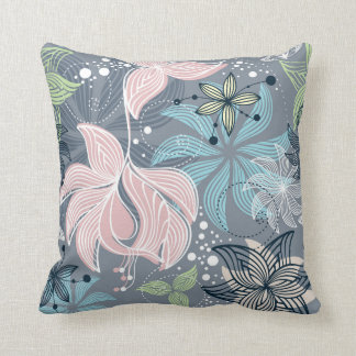 Purple Blue And Pink Retro Pattern Flowers Throw Pillow