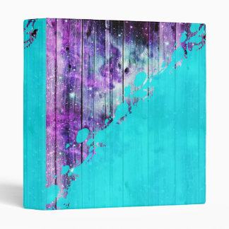 Purple, Blue,and Teal Wood Planks & Paint Splatter Binder