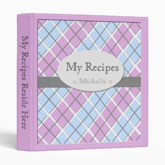 Purple & Blue Argyle Recipe Binder