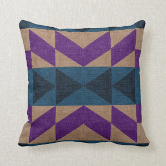 Purple Blue & Beige Mayan Print Accent Pillow