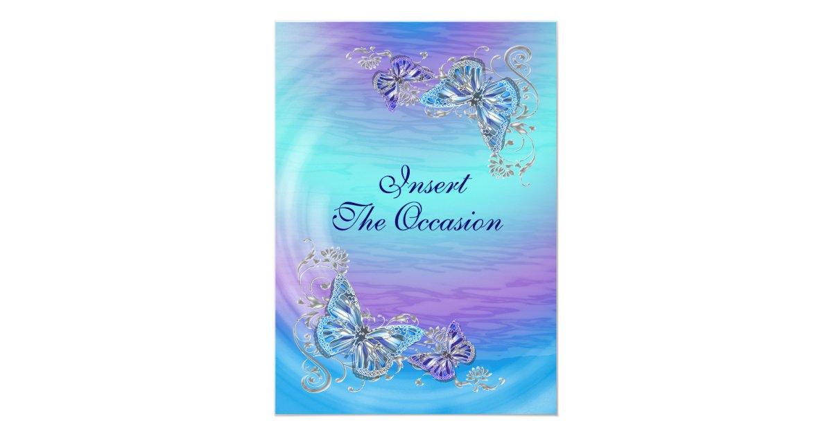 Purple And Blue Wedding Invitations: Purple Blue Birthday Engagement Wedding Invitation