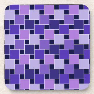 Purple Blue & Black Abstract Squares Coasters