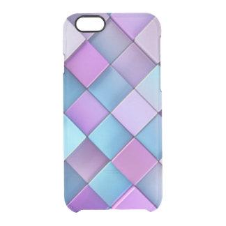 Purple Blue Checker Board Pattern Print Design Clear iPhone 6/6S Case