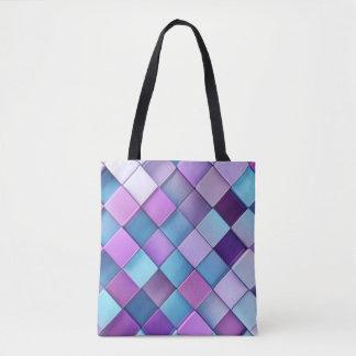Purple Blue Checker Board Pattern Print Design Tote Bag