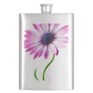 Purple Blue Daisy Flower Floral Daisies Flower Hip Flask