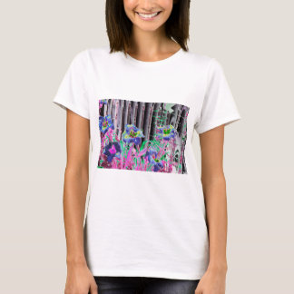 Purple & blue Day Lilies along a fence abstract T-Shirt