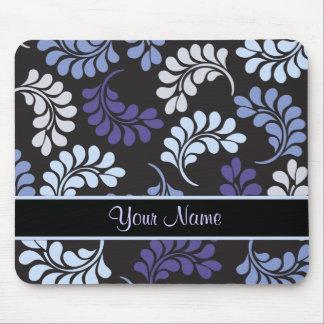 Purple Blue Floral Monogram Pattern Mouse Pad