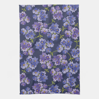 Purple & Blue Floral WatercolourTea Towel
