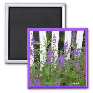 Purple Blue Flowers Fence Magnet