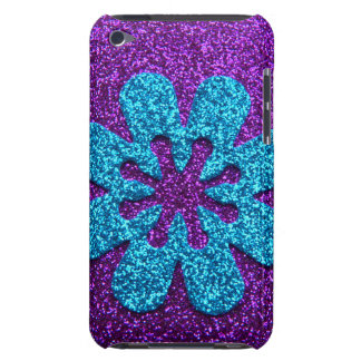 Purple & Blue Glitter Retro Flower iPod Touch Case
