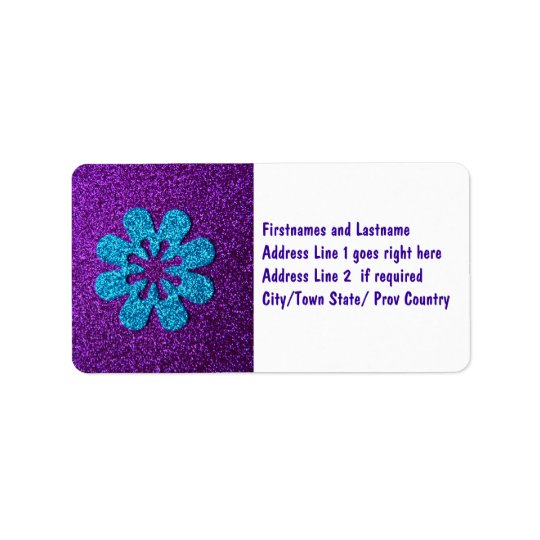 Purple & Blue Glitter Retro Flower Label