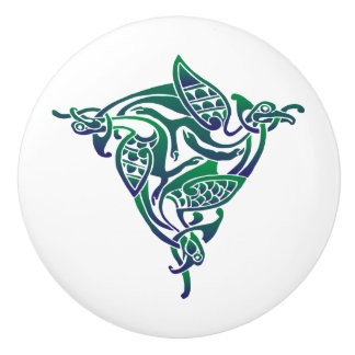 Purple-Blue Green Celtic Bird Ceramic Knob