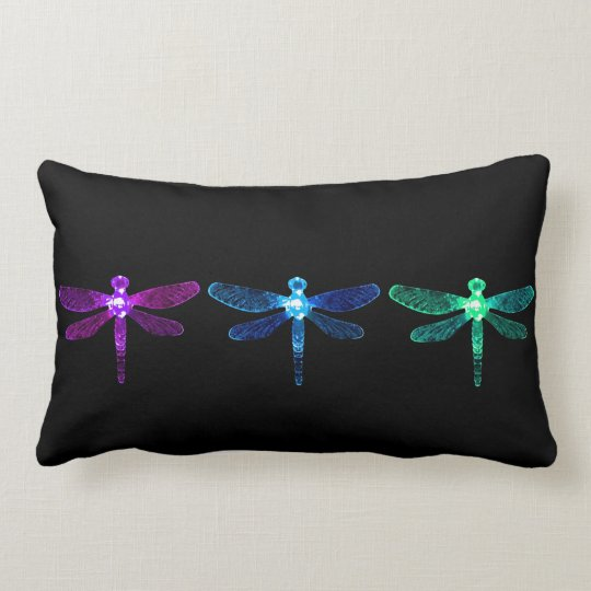 Purple, Blue, & Green Dragonfly Pillow