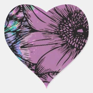 Purple, Blue Green Flower Garden Heart Sticker