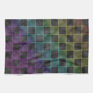 Purple Blue & Green Grunge Squares Kitchen Towel