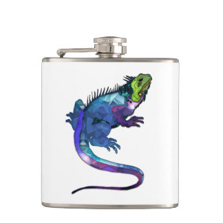 Purple, Blue & Green Iguana Mosaic Hip Flask