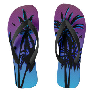 Purple Blue Haze Fade Night Sunset Tropical Palms Flip Flops