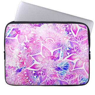 Purple blue henna boho floral mandala pattern laptop sleeve