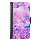 Purple blue henna boho floral mandala pattern samsung galaxy s6 wallet case