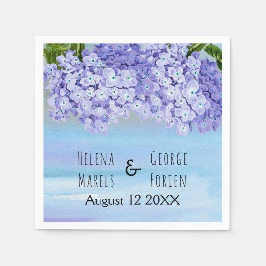 Purple blue hydrangea watercolor floral wedding disposable napkin