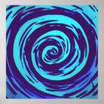 Purple & Blue Hypnotic Swirl Art Poster