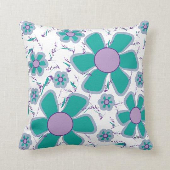 Purple blue impatients throw pillow