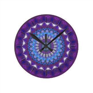 Purple & Blue Kaleidoscope Mandala wall clock