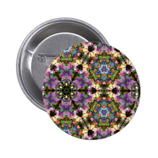 Purple/Blue Kaleidoscope Triangle Psychedelic Snap 2 Inch Round Button