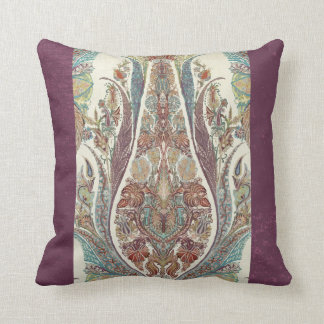 Purple Blue Kashmir Vintage Tribal Paisley Antique Throw Pillow