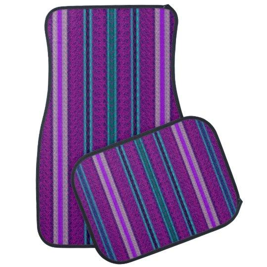 Purple Blue Lilac Stripe Set of 4 Car Mats Floor Mat