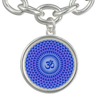 Purple Blue Lotus flower meditation wheel OM Bracelets