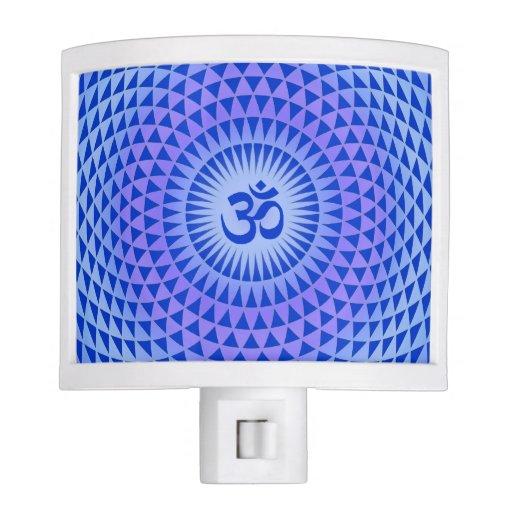 Purple Blue Lotus flower meditation wheel OM Nite Lites