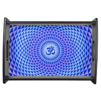 Purple Blue Lotus flower meditation wheel OM Food Tray