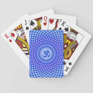Purple Blue Lotus flower meditation wheel OM Poker Cards