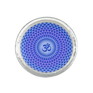 Purple Blue Lotus flower meditation wheel OM Photo Rings