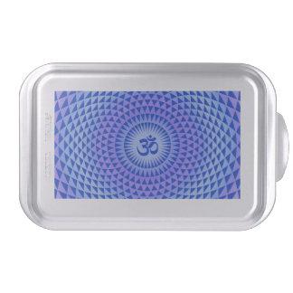Purple Blue Lotus flower meditation wheel OM Cake Pan