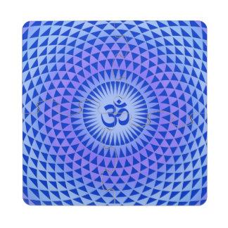 Purple Blue Lotus flower meditation wheel OM Puzzle Coaster