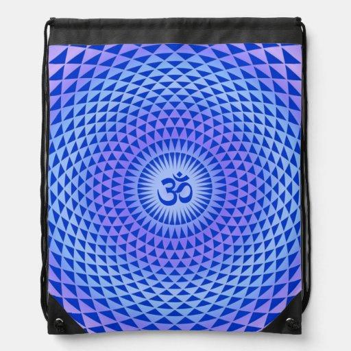 Purple Blue Lotus flower meditation wheel OM Backpack