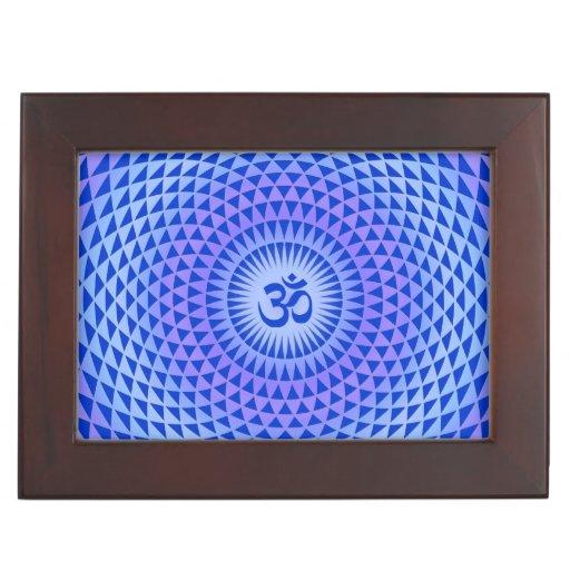 Purple Blue Lotus flower meditation wheel OM Keepsake Boxes