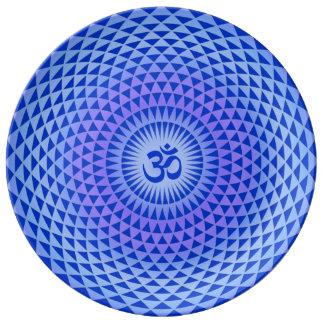 Purple Blue Lotus flower meditation wheel OM Porcelain Plates