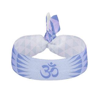 Purple Blue Lotus flower meditation wheel OM Ribbon Hair Tie